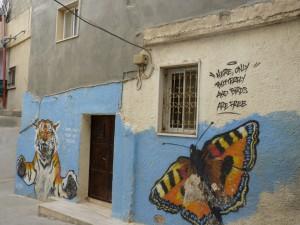 Butterfly graffitti on wall