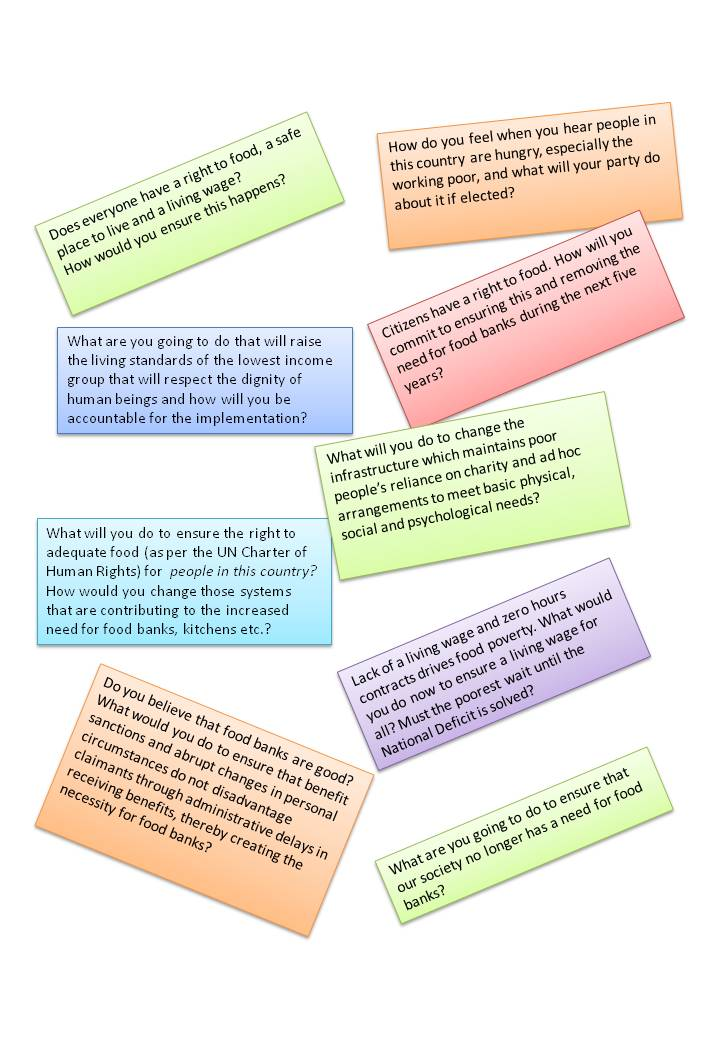 suggestions for questions to MP about food poverty